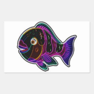 Parrot fish rectangular sticker