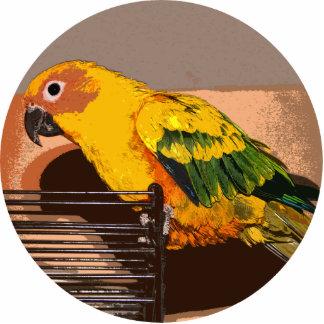 Parrot Golden Standing Photo Sculpture