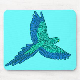 Parrot in Flight, Aqua and Cobalt Blue Mouse Pad