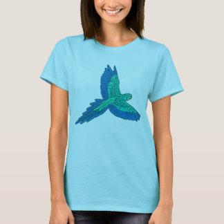 Parrot in Flight, Aqua and Cobalt Blue T-Shirt