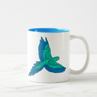 Parrot in Flight, Aqua and Cobalt Blue Two-Tone Coffee Mug