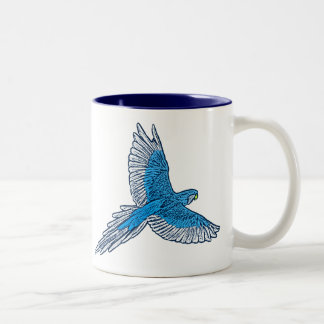 Parrot in Flight, Cobalt Blue and Navy Two-Tone Coffee Mug