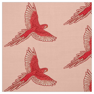 Parrot in Flight, Coral Orange and Cream Fabric