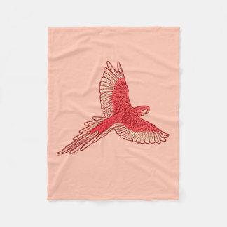 Parrot in Flight, Coral Orange and Cream Fleece Blanket