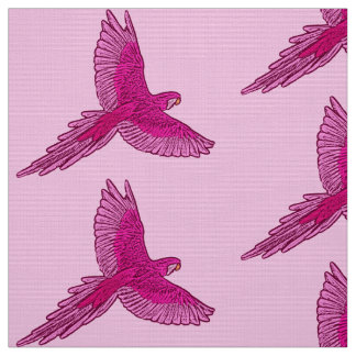Parrot in Flight, Fuchsia and Ice Pink Fabric