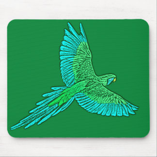 Parrot in Flight, Jade Green and Turquoise Mouse Pad