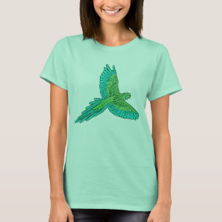 Parrot in Flight, Jade Green and Turquoise T-Shirt