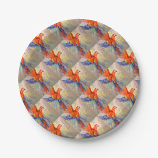 Parrot in flight paper plate