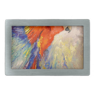 Parrot in flight rectangular belt buckle