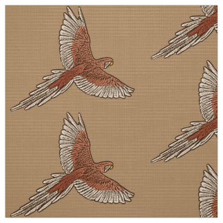 Parrot in Flight, Rust, Cream and Camel Tan Fabric