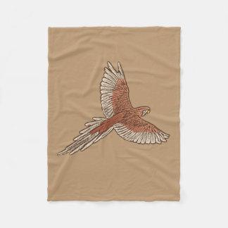 Parrot in Flight, Rust, Cream and Camel Tan Fleece Blanket