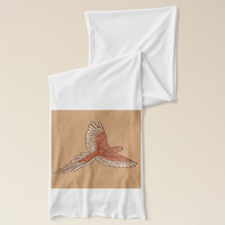 Parrot in Flight, Rust, Cream and Camel Tan Scarf