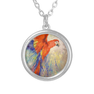 Parrot in flight silver plated necklace