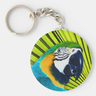 Parrot In Palm Tree Basic Round Button Key Ring