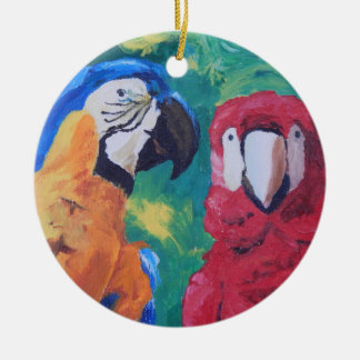 Parrot Love Birds Double-Sided Ceramic Round Christmas Ornament