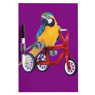Parrot Macaw on Tricycle bike Dry Erase Board