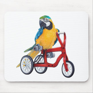 Parrot Macaw on Tricycle bike Mouse Pad