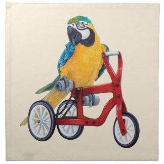 Parrot Macaw on Tricycle bike Napkin