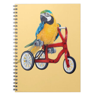 Parrot Macaw on Tricycle bike Notebooks