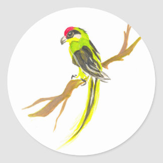 Parrot on a branch. Watercolor painting. China art Classic Round Sticker