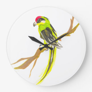 Parrot on a branch. Watercolor painting. China art Large Clock