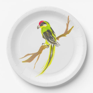Parrot on a branch. Watercolor painting. China art Paper Plate