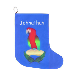 Parrot On Blue Large Christmas Stocking