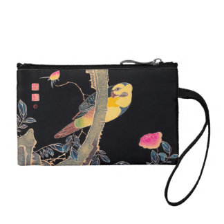 Parrot on the Branch of a Flowering Rose Bush Coin Wallets