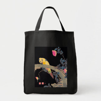Parrot on the Branch of a Flowering Rose Bush Grocery Tote Bag