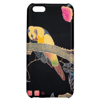 Parrot on the Branch of a Flowering Rose Bush iPhone 5C Covers