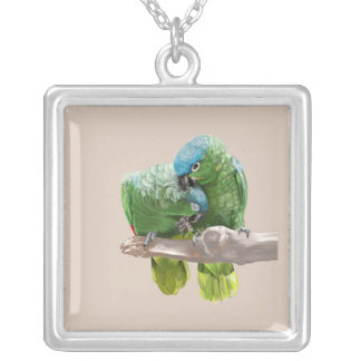 Parrot Pair Silver Plated Necklace