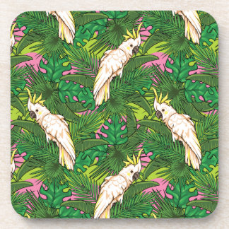 Parrot Pattern With Palm Leaves Drink Coaster