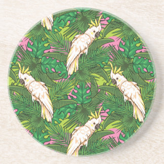 Parrot Pattern With Palm Leaves Drink Coasters
