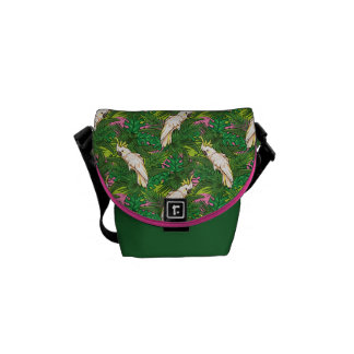 Parrot Pattern With Palm Leaves Messenger Bags