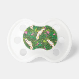 Parrot Pattern With Palm Leaves Pacifiers