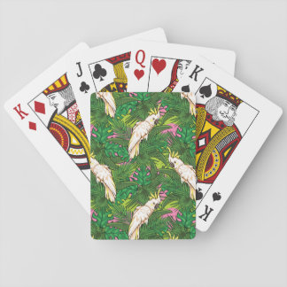 Parrot Pattern With Palm Leaves Playing Cards