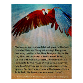 """Parrot Poster with Quote from """"Bind Not the Heart"""""""