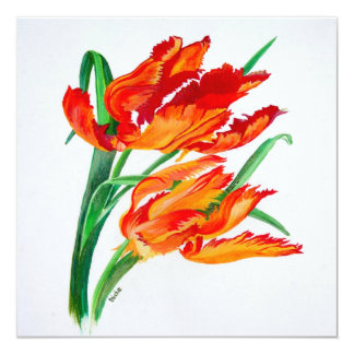 Parrot Tulips 13 Cm X 13 Cm Square Invitation Card
