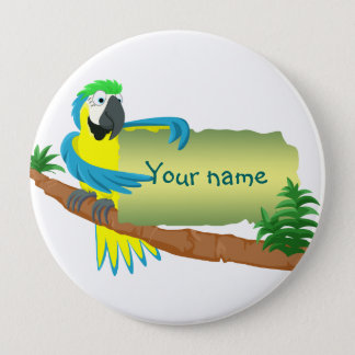 Parrot with sign for name/text 10 cm round badge