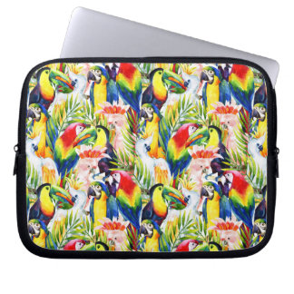 Parrots And Palm Leaves Laptop Sleeves