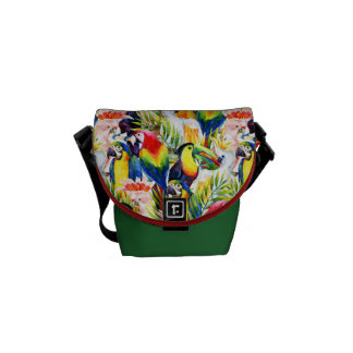 Parrots And Palm Leaves Messenger Bags