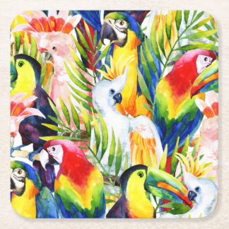 Parrots And Palm Leaves Square Paper Coaster