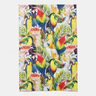 Parrots And Palm Leaves Tea Towel