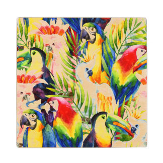 Parrots And Palm Leaves Wood Coaster
