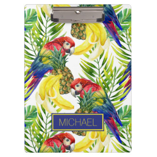 Parrots And Tropical Fruit | Add Your Name Clipboard