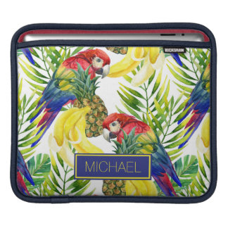 Parrots And Tropical Fruit | Add Your Name iPad Sleeves
