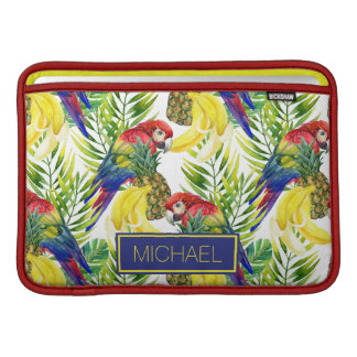 Parrots And Tropical Fruit | Add Your Name MacBook Sleeves