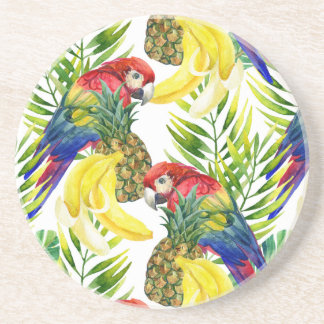 Parrots And Tropical Fruit Beverage Coaster