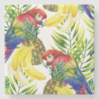 Parrots And Tropical Fruit Stone Beverage Coaster