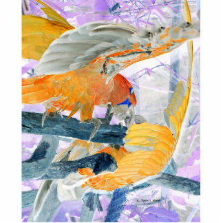 Parrots fighting inverted to orange and white photo sculpture badge